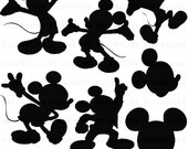 Mickey Mouse Silhouettes Clipart Clip Art Digital Scrapbooking Commercial Use - printable clipart - Instant Download  - DP322