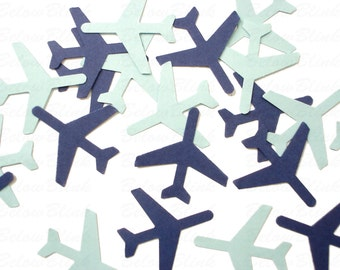 "50 Medium Navy Blue Baby Blue Airplane die cuts punch scrapbook embellishments - 1.5"" airplanes - No302"