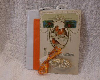 Christmas Card and Gift in one! Stunning Vintage Faux Pearl & Rhinestone Pin Brooch Adorning a 1921 Postcard