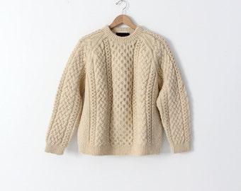 vintage Scottish wool sweater, fisherman sweater