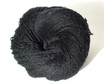 Cashmere Silk Recycled Yarn, Black, Light Fingering, 450 yards
