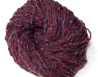 Pure Wool Recycled Yarn, Dark Burgundy with Specs, Worsted Weight, 138 Yards