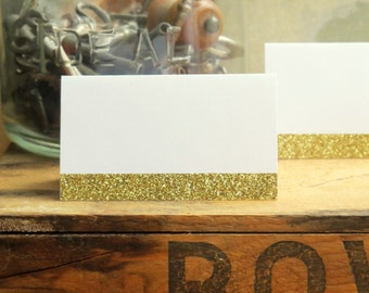 Glitter Place Cards, Wedding Place Cards - Gold and/or Silver on White or Kraft Extra Thick Cardstock - Rustic Chic, Whimsical, Boho, Fun