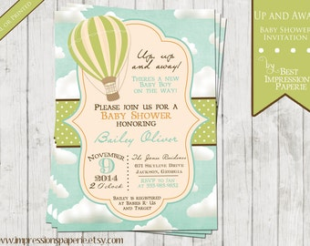 Up and Away - Hot Air Balloon Baby Shower Invitation - Baby Boy - Blue Green Brown Orange