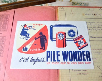 French original vintage illustrated  advertising blotter 1950s