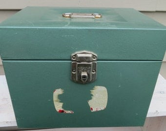 Vintage Teal Small Metal Lock Box with Handle