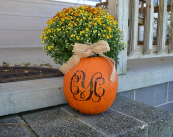 Pumpkin Monogram Decal - Halloween - Fall Decor