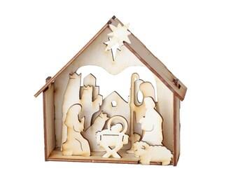 Natural Wood Nativity, Free Shipping