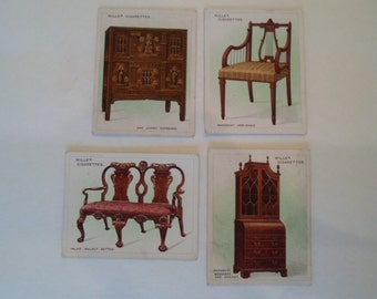Vintage Wills Cigarette Cards  Collection set of  4 Old Furniture Chairs Bookcase Bench