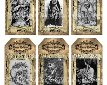 TAGS Halloween No 5 Spooky Creepy Witches Spirits Vampires Skull Boo Trick and Treat Gift tags