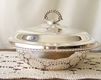 Vintage Covered Serving Dish Silver Plate Serving Casserole High Quality Silver Plate Serving Piece Fine Dining Vintage 1980s