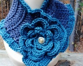 Grey and Teal Ruffle Scarf