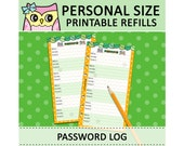 PRINTABLE Personal Size Password Log Trakcer Cute Owl Refills for Filofax Organizer Instant Download