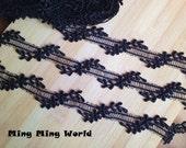 2 yards Black Lace Trim,Black Leaf Lace,Lace Trim for Costume Desige,headband 1.37 inches  (L315)