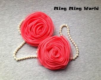 2 PCS Dark Pink Chiffon and Gauze Roses for Bridal,Headband,wedding gift,Brooch.(F13)