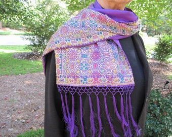 Purple Silk Scarf from Benares Brocade Sari with Silk Fringe by the Old Silk Route