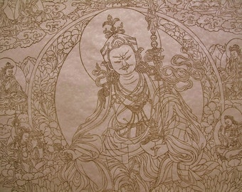 Coloring Page or Art Print of Tibetan Buddhist Thangka Painting, 22x32inches