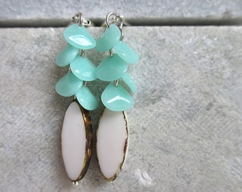 blue rain - earrings with sea blue / green disc beads and white czech drop beads
