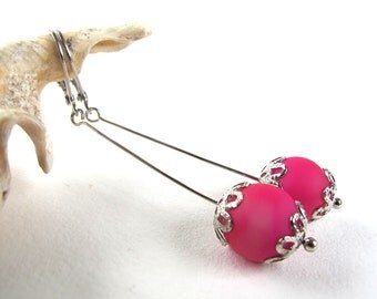 SALE !!!!! - power pink - long earrings with silver tone metal and powerful pink glass beads