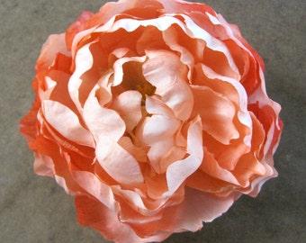 Full Peach Cream Peony Silk Flower Brooch Pin