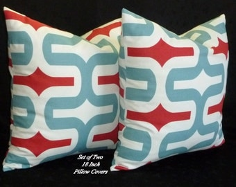 Decorative Throw Pillows, Pillow Covers, Accent Pillows - Two 18 Inch - Blue, Red and White