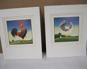 "Farmhouse Kitchen Decor Colorful Rooster and Chicken  8"" x 10"" Lithographs With Mats Ready to Put in Favorite Frames Memories to Use or Gift"