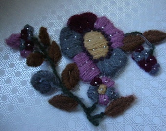 Beautiful Yarn Applique with Silver Metallic Beads Gray Burgundy Mauve Brown Floral Applique Sew On Glue On Beaded Applique OC
