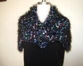Scarf fancy fur yarn fuzzy hand made blue/multicolor very solf