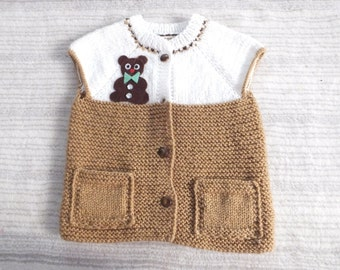 Knitting Pattern...Knitting Baby Vest... Sweater...Brown and White