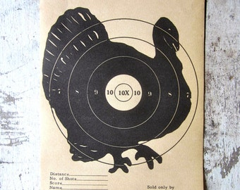 Vintage J.C. Higgins Turkey  Target No. 9 shooting Paper c. 1940s collectible wall art