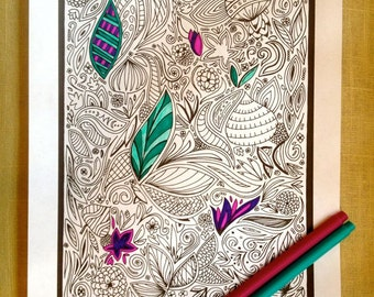 Coloring Page Printable Instant pdf Download Doodle Art Original Leaves Page C