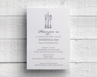 Silverware Rehearsal Dinner Invitation, Rehearsal Invitation, Wedding Rehearsal, Dinner Invitation, Dinner Party, JPEG, PDF