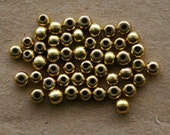 50 Recycled Brass Round Beads