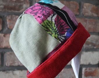 eco friendly winter hat; hipster hat; Patchwork hat: Reversible hat