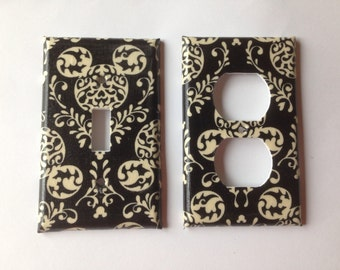 Black And White Damask Single LIght Swich Plate Cover Set