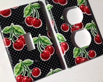 Cherry Light Switch Plate Retro Cherries And Polka Dots Single Light Switch Plate Cherry