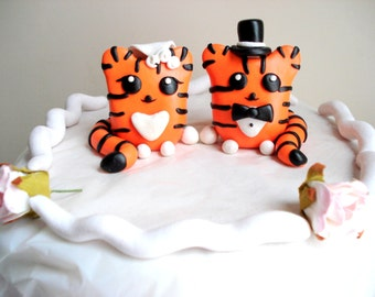 Tiger Wedding Cake Topper Tigers Bride and Groom Cake Topper