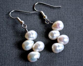 White Freshwater Pearls . Earrings