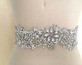 Luxury wide statement crystal bridal applique belt, 25 inch.  Rhinestone 3 inch beaded leaf wedding sash. LE JARDIN