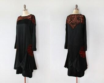 1920s Dress / 20s BURNOUT Velvet and Satin Flapper Dress / S XS