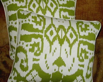 Quadrille Linen Blend Fabric Custom Designer Throw Pillows Island Ikat Green New