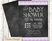 Chalkboard baby shower invitation, chic baby shower invitation, shabby baby shower invitation, lace invitation, girl baby shower invitation