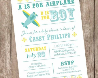 Boy airplane baby shower invitation, aviation baby shower invitation, boy baby shower invitation, plane invitation, printable invitation