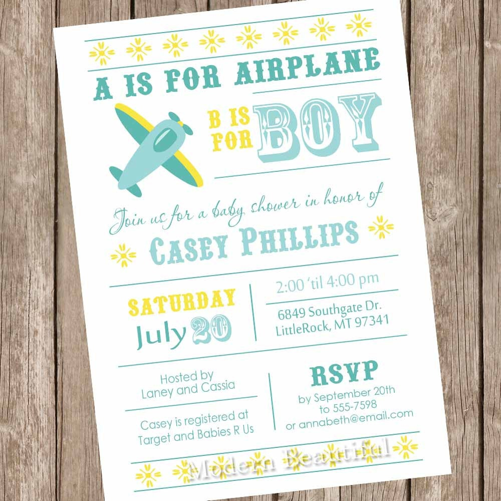 boy airplane baby shower invitation aviation baby shower