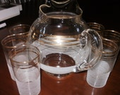 Sale...Mid Century Pitcher and Glasses