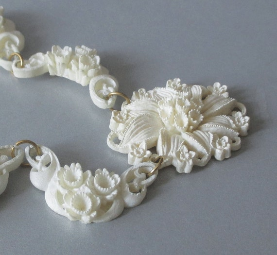 Vintage Necklace White Plastic Flower Links By Artsix On Etsy