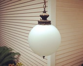 Globe Pendant with Brass Hardware and Chain