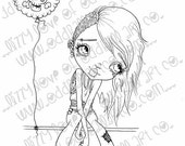 Digi Stamp Digital Instant Download Creepy Cute Punk Girl with Skull Balloon ~ Tanith Image No.101 & 101B by Lizzy Love