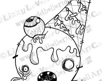"Digital Stamp Instant Download Kawaii Kowai Zombie Icecream Cone Sundae with Eyeball ""Eyes Scream Headache"" Image No.145 by Lizzy Love"