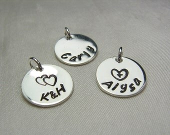 """Monogram Charm Single Stamped Medium Charm Monogram Name Plate Sterling Silver 1/2"""" Disc - Charm for Name Necklace Initial Necklace"""